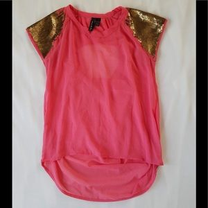 Coral and gold top